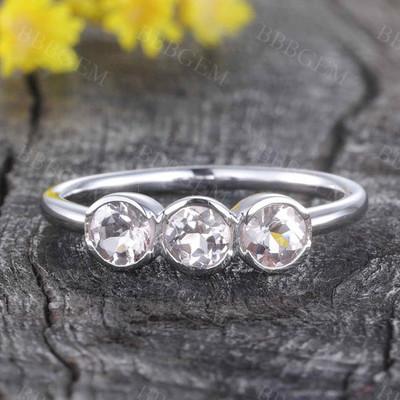Morganite Wedding Ring Minimalist Three Stone Bridal Promise Anniversary Gift