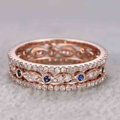 Sapphire and Diamond Wedding Band Set 0