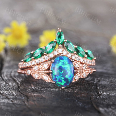 Oval Black Opal Ring