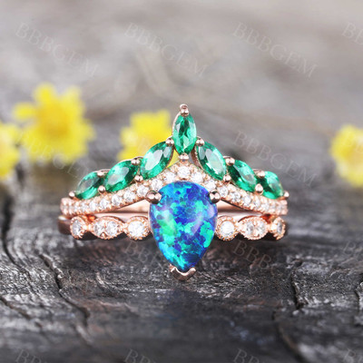 Pear Cut Black Opal Engagement Ring