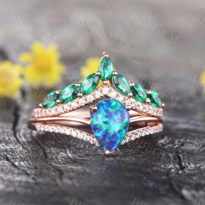 Art Deco Diamond Black Opal Engagement Ring Marquise Emerald Curve Eternity Band Set