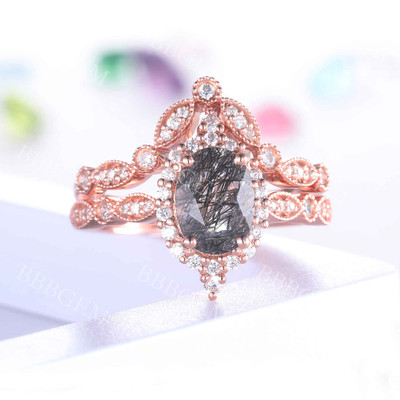 Black Rutilated Quartz Diamond Wedding Ring