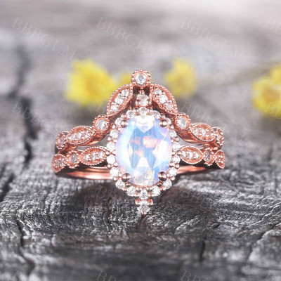Diamond Halo Moonstone Engagement Ring Set