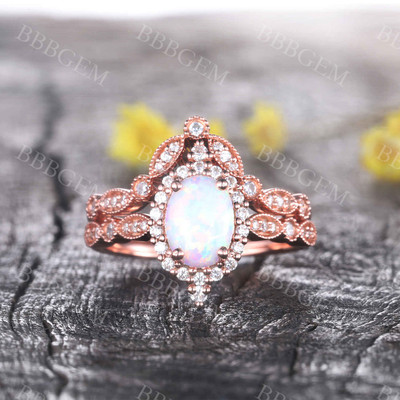 Vintage Oval White Opal Engagement Ring Set