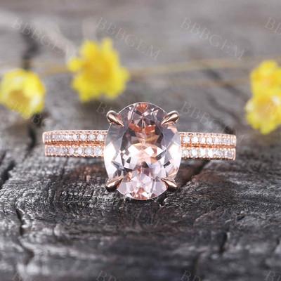 Rose Gold Morganite Wedding Set