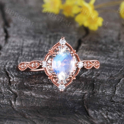 Oval Moonstone Engagement Ring