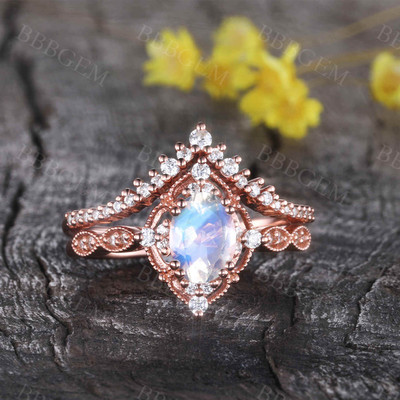 Unique Moonstone Engagement Ring Set