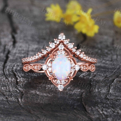 Vintage Opal Bridal Ring Set