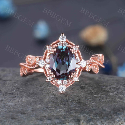 Unique Vintage Color Change Alexandrite Engagement Ring Set