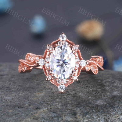 Rose Gold Moissanite Engagement Ring for Women