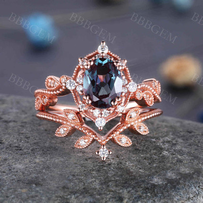 Vintage Alexandrite Ring Set 14K Rose Gold Engagement Ring