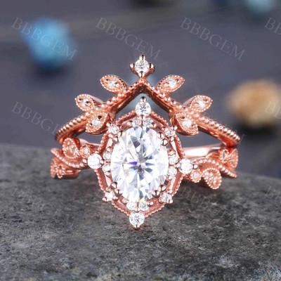 Rose Gold Oval Moissanite Engagement Ring Set