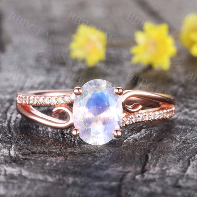 Art Deco Moonstone Engagement Ring Curved Wedding Ring Rose Gold Split Shank Band