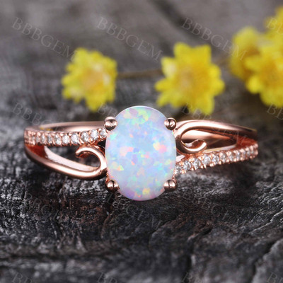 Vintage Art Deco Opal Engagement Ring Wedding Band