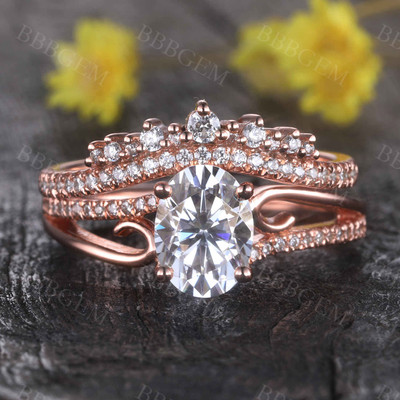 14K Rose Gold Moissanite Engagement Ring Set