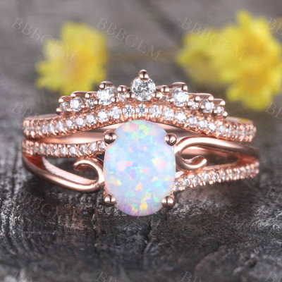 Opal Engagement Ring Set Rose Gold