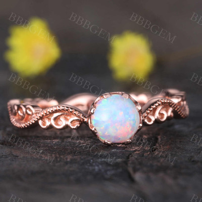 Floral Opal Ring Rose Gold Wedding Ring