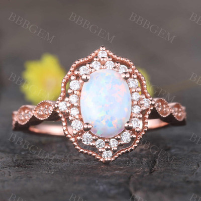 Opal Ring Vintage Opal Engagement Ring Rose Gold Art Deco Ring Women Diamond Eternity Band