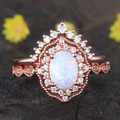 Vintage Opal Ring Set 14k Rose Glod Engagement Wedding Ring