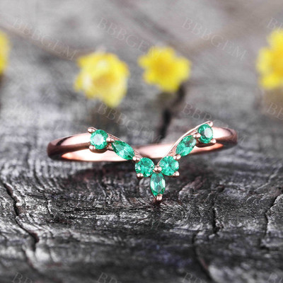 Unique Emerald Stacking Ring May Birthstone Ring