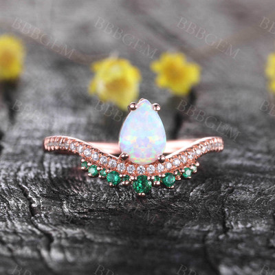 Vintage Opal Emerald Engagement Ring October Birthstone