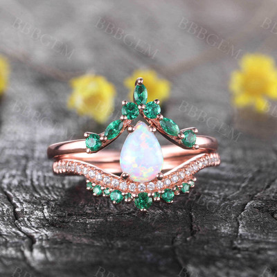 Opal Emerald Engagement Ring Set 14K Rose Gold