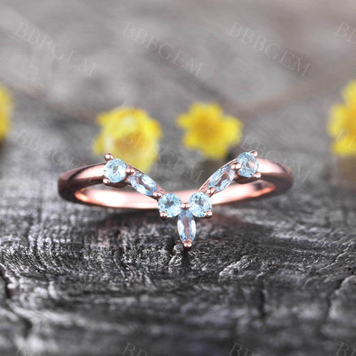 14K Rose Gold Blue Topaz Wedding Band Dainty Curved Stacking Ring December Birthstone Ring Gemstone Band