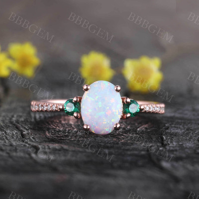 Opal Cluster 14k Rose Gold Engagement Ring