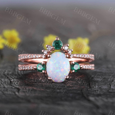 Lab Opal Bridal Set Antique Diamond Wedding Matching Band