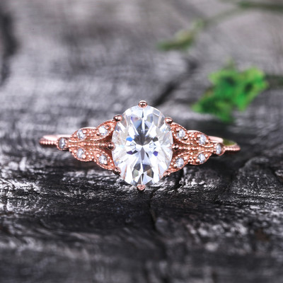 Oval Moissanite Engagement Ring 6x8mm Art Deco Rose Gold Wedding Ring