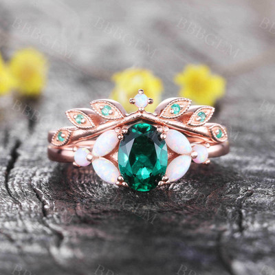 Oval Emerald Opal Engagement Ring Set Art Deco Emerald Stacking Band