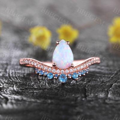 White Opal Diamond Engagement Ring Blue Topaz Ring