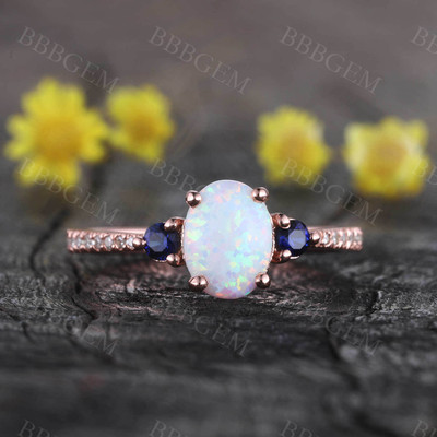 14K Rose Gold Opal Cluster Engagement Ring for Women Sapphire Diamond Ring Statement Ring