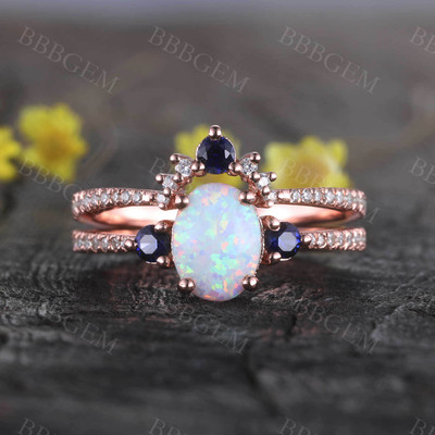 Sapphire Opal Bridal Set Antique Diamond Wedding Matching Band