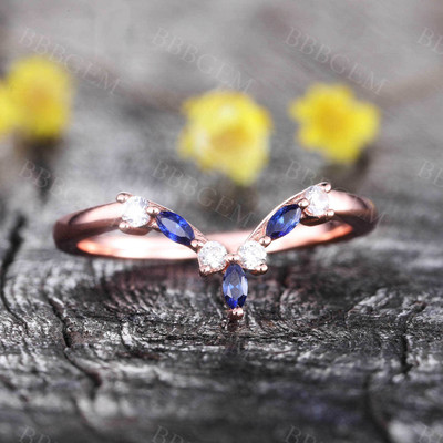 Blue Sapphire Diamond Wedding Band Dainty Curve Stacking Ring