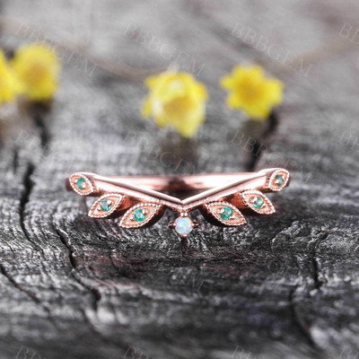 Emerald Stacking Rings May Birthstone Ring 14K Solid Rose Gold Ring