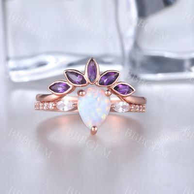 wedding ring set-BBBGEM Opal Engagement Ring