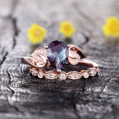 alexandrite ring set