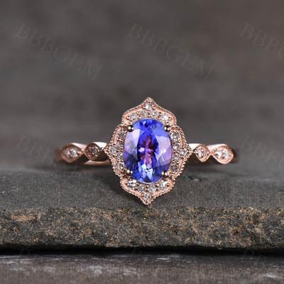 Vintage floral tanzanite engagement ring diamond rose gold wedding ring custom ring