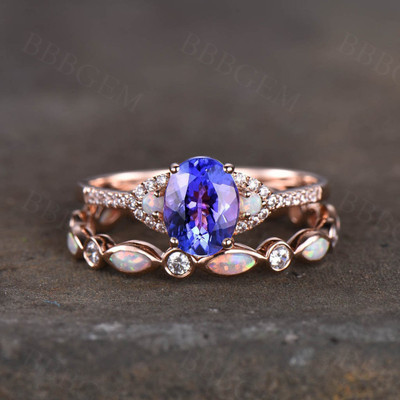 Wedding Ring Set Tanzanite engagement ring set art deco opal matching band