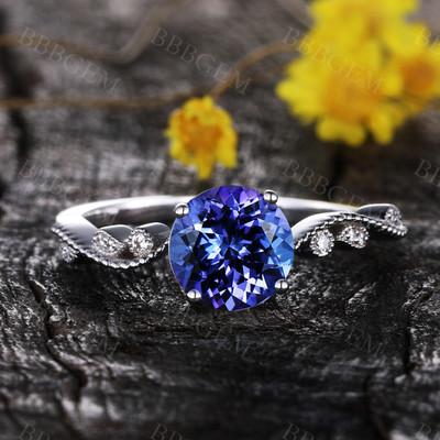 Round Tanzanite engagement ring floral ring diamond promise ring rose gold