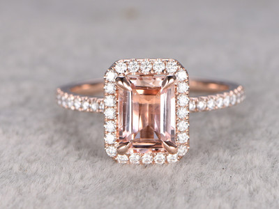 1.5 carat Rose Gold Morganite Halo Engagement Ring