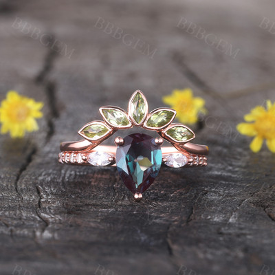 Alexandrite Engagement Ring Set Rose Gold Set Peridot Matching Band