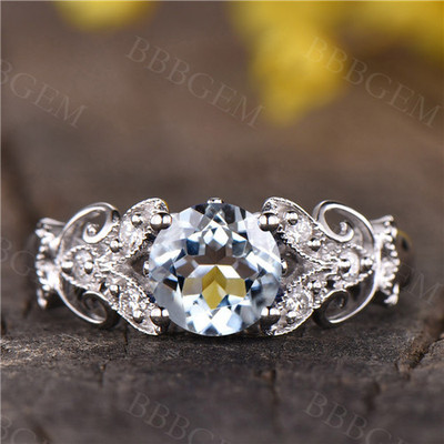 Art Deco Unique Aquamarine Engagement ring vintage floral wedding ring 14k white gold