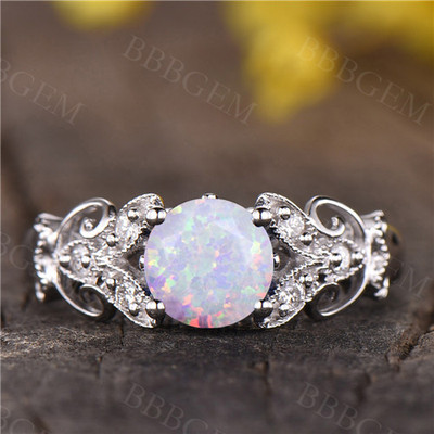 opal ring,vintage opal engagement ring,antique promise ring,solitaire flower wedding ring