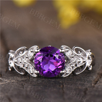 Round Amethyst Engagement Ring art deco wedding band,antique Amethyst floral ring white gold