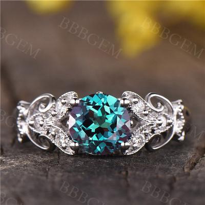 Vintage Floral Alexandrite Engagement Ring White Gold Diamond Wedding Ring Gift For Her