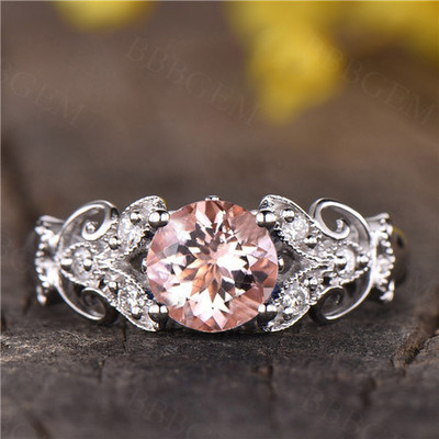 Round Morganite Diamond Engagement Ring Rose Gold Morganite Wedding Ring Pink Gemstone Solitaire Ring