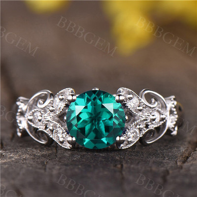 Emerald engagement ring  14k rose gold vintage floral wedding ring gift for her