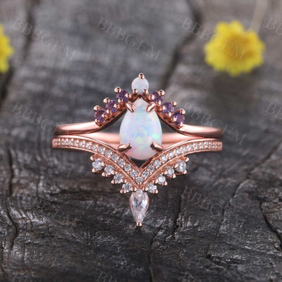 Pear Opal Engagement Ring Set White Opal Wedding Set,3pcs Bridal Set
